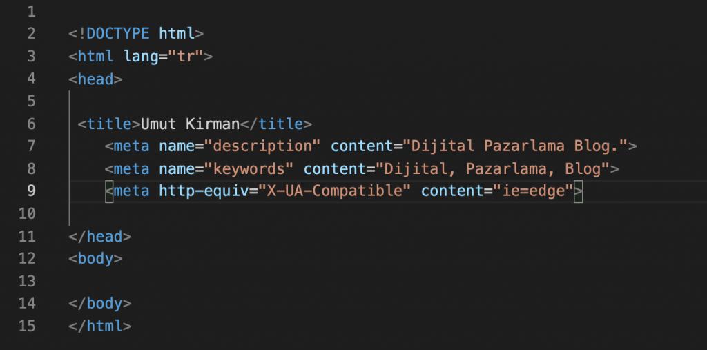 HTML Kod Yapısı